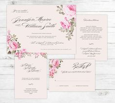 Romantic Peonies Floral Wedding Invitation Suite by graystardesign