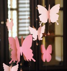 3D paper butterfly mobile, baby nursery, room decoration in shaded pink (Robin)