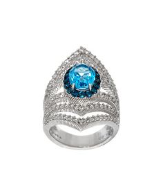 Love this Blue Topaz & Diamonique® Sterling Silver Oval Statement Ring on #zulily! #zulilyfinds