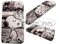 Snoopy Iphone 4 4S Case Black White Cartoon Hard Glossy Cover