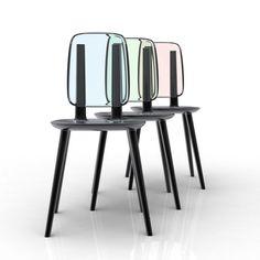 black metal glass back chairs