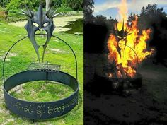 Total Badass Sauron mask in the firepit. Gotta make one of these someday. Lord of the Rings grill.