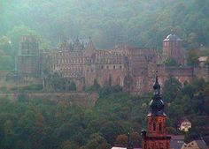 The Heidelburg Castle in Germany  BEEN THERE!--steepest walk ever!! but I would totally do it again :)
