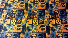 Orange and Blue Skulls Cotton Fabric 1.5 YDS Graphic Goth Grunge
