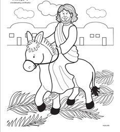Holy Week Jesus Rides Donkey Into Jerusalem Coloring Page For Palm Sunday