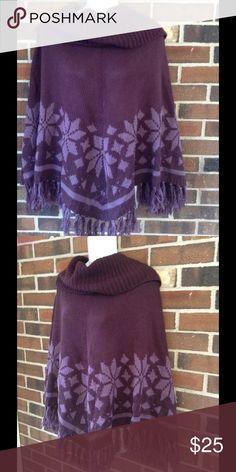 NWT Large Plum Purple Poncho Sweater Turtleneck Stylish poncho sweater with an oversized turtleneck                                                                Color: sugar plum Bandolino Sweaters Shrugs & Ponchos