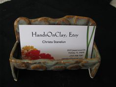 business card holder, ceramic card holder, ceramic desk accessory, pottery fun for your desk, by HandsOnClay on Etsy