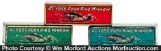 Antique Advertising | Al Foss Pork Rind Minnow Tins • Antique Advertising