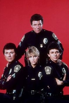 "What a good looking cast of TV series T. Hooker 1982 - 1986 James Darren as Officer Jim Corrigan William Shatner as Sgt. Thomas Jefferson ""T."" Hooker Heather Locklear as Officer Stacy Sheridan and Adrian Zmed as Officer Vincent ""Vince"" Romano. 80 Tv Shows, Old Shows, Great Tv Shows, William Shatner, Tv Vintage, James Darren, Tv Detectives, Childhood Tv Shows, Kino Film"
