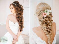 Mermaid-esqu long wavy bridal hair