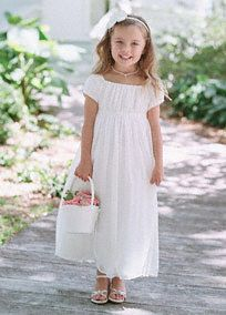 Adorable short sleeve crinkle chiffon dress features an empire waist with beaded, ribbon detail. Available in sizes 2T-14 in stores. White and Ivory available in stores and online in plus size flower girl sizes, 8+-14+, Style NM1211+, $109.00