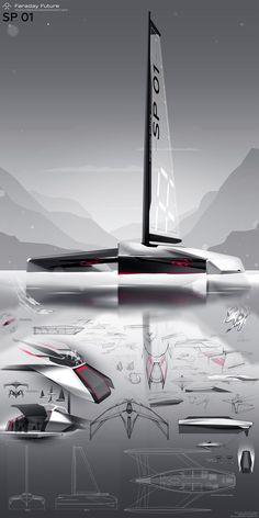 Autonomous trimaran Faraday Future on Behance Yacht Design, Boat Design, Boat Sketch, Faraday Future, Sailboat Decor, Graffiti Pictures, Future Transportation, Spaceship Art, Boat Projects
