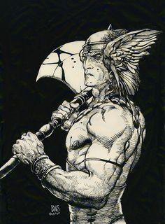 Conan The Barbarian by Barry Windsor-Smith Comic Book Artists, Comic Book Characters, Comic Book Heroes, Comic Artist, Comic Books Art, Comics Illustration, Illustrations, Fantasy Warrior, Fantasy Art