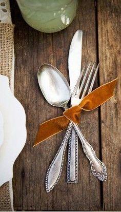 velvet ribbon around silverware, tablescape