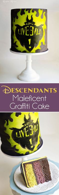 """a video tutorial using homemade stencils and an airbrush gun you can create this graffiti inspired """"long live evil"""" Maleficent cake inspired by Disneys Descendants movie"""