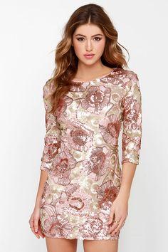 d38d3d933f Glam Plan Pink Sequin Dress. Pink Sequin DressEmbellished DressGold ...