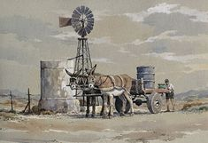 Filling up with water, donkeys, wind pump, Karoo Poppy Flower Painting, Fruit Painting, Landscape Photos, Landscape Paintings, Landscapes, Stella Art, Old Windmills, Windmill Art, African Colors