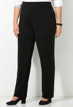 Pleather Trim Ponte Knit Pant