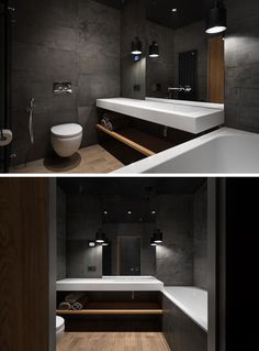 This bathroom is made up of concrete with wooden accents and flooring, and hanging light fixtures. The pure white floating countertop below the mirror has a seamless sink, while the matching bathtub has a surround that matches the walls.