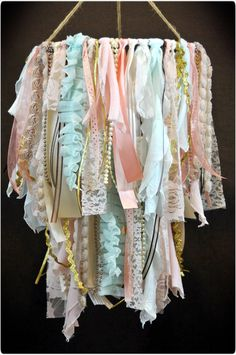 Shabby Chic Fabric Double Tier Chandelier Lace and by TutuHappyLLC
