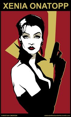 "Xenia Onatopp (Famke Janssen) in ""Goldeneye"", 1995. - artwork by Christian Cimoroni"