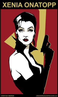 """Xenia Onatopp (Famke Janssen) in """"Goldeneye"""", - artwork by Christian Cimoroni James Bond, Spy Hard, Xenia Onatopp, Famke Janssen, Best Bond, Bond Girls, People Of Interest, Alternative Movie Posters, Geek Culture"""