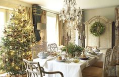 Rustic candleabras with tree clipping centerpiece