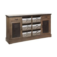 Village Loft Sideboard, 6 Rattan Baskets/Cotton Liners, Paulownia Wood/MDF/Metal