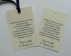 50 Personalised Favour Tags White or Cream Hammer or Linen Card