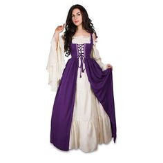 Renaissance Medieval Irish Costume Over Dress Fitted Bodice... ❤ liked on Polyvore featuring costumes, renaissance costume, purple renaissance costumes, purple halloween costumes, purple costume and renaissance halloween costumes
