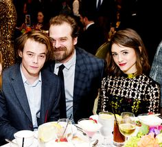 Charlie Heaton, David Harbour, and Natalia Dyer attend the 17th annual AFI Awards on January 6th, 2017.