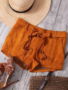 Faux Suede Straight Leg Camel Shorts CAMEL: Shorts | ZAFUL