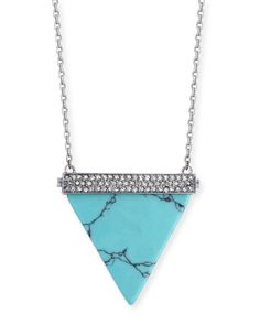 Pave Triangle Pendant Necklace, Women's, SILVER/TURQUOISE - Michael Kors