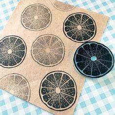 Lemon rubber stamp hand carved citric fruit stamp summer