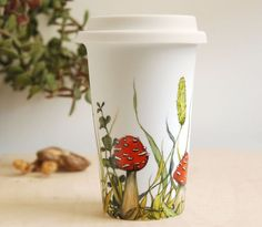 Would love my morning joe in this on the go hand painted ceramic travel mug-Love,Love