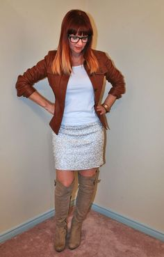 sequin skirt brown leather jacket Over 40 fashion for the stylish woman.