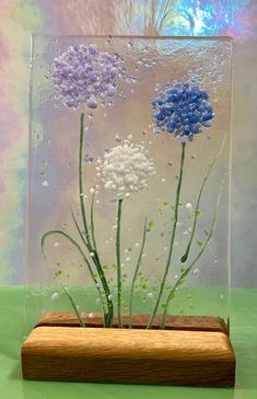 Cheerful Allium Family of Flowers fused glass Art Picture With   Etsy Bunch Of Flowers, Blue Flowers, Fused Glass Art, Stained Glass, Allium Flowers, Oak Worktops, Wooden Display Stand, Glass Fusion Ideas, Neurone