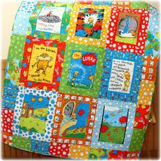 The Lorax Baby Quilt  Dr SEUSS Bright, Fun, Organic cotton CUSTOM Made to Order