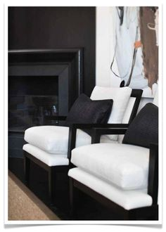 black fireplace - chic black and white styling with a hint of coffee in the artwork - Slettvoll Living Room Interior, Home Interior Design, Interior Architecture, Black Fireplace, Modern Fireplace, Black And White Interior, Black White, Mid Century Modern Design, Black Decor
