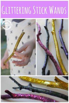 Glittering Stick Wands - add embellishments: star, ribbons etc.