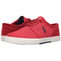Polo Ralph Lauren Faxon Low (RL2000 Red Oval Mesh) Men's Lace up... ($65) ❤ liked on Polyvore featuring men's fashion, men's shoes, men's sneakers, mens red sneakers, men's low top shoes, mens mesh sneakers, polo ralph lauren mens sneakers and mens sneakers