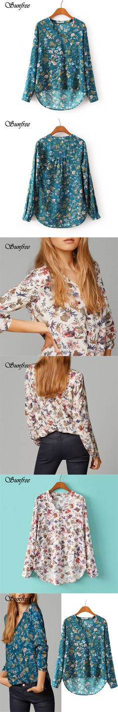 Sunfree New Hot Sale Fashion  Women Print V-NECK Blouse Long-sleeve Top Shirt Lady Casual Shirt New Brand New High Quality Dec 9