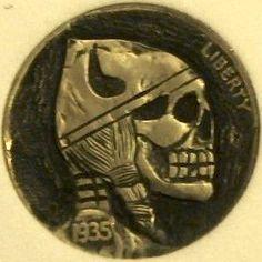 "DAVID ""COALBURN"" RAYMOND HOBO NICKEL - VIKING SKULL - 1935 BUFFALO PROFILE Hobo Nickel, Vikings, Coins, Skull, Carving, Brooch, Personalized Items, Buffalo, David"