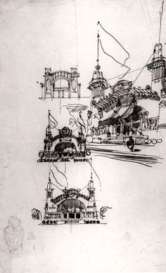"""Olbrich, Josef Maria, Staatliche Museen zu Berlin. Sketch from the book """"Architect's Drawings: A Selection Of Sketches By World Famous Architects ..."""" by Kendra Schank Smith"""