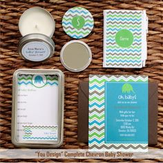 chevron patterned baby shower invitations and favors