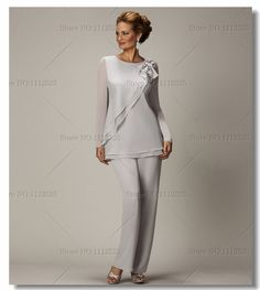 2014 new style Two piece Chiffon mother of the bride pants suits Plus size $139.00