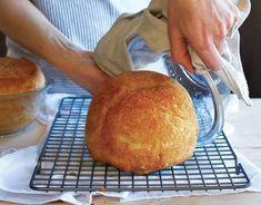 No-Knead Peasant Bread: 4 cups unbleached all-purpose flour 2 teaspoons kosher salt 2 teaspoons sugar teaspoons instant yeast 2 cups lukewarm water softened butter, for greasing Knead Bread Recipe, No Knead Bread, Sourdough Bread, Peasant Bread, Peasant Food, Bread Toast, King Arthur Flour, Instant Yeast, Dessert Bread