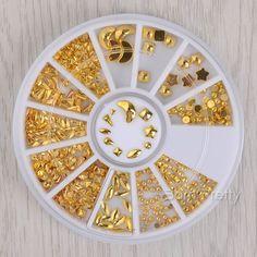 $3.06 1 Box 3D Nail Decoration Gold Star Moon Triangle Square Shape Design Manicure Nail Art Decoration - BornPrettyStore.com