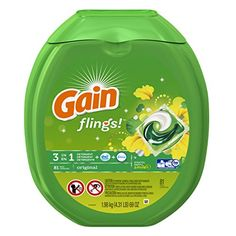 Gain Flings Original Laundry Detergent Pacs, 81 Count  Easy-to-use Gain flings unit-dose laundry detergent brings 50% more Original scent to your laundry room and your clothes. Oxi boost fights stains while odors are removed with the odor- elimination technology of Febreze, so your clothes are left wonderfully clean with an amazing scent. With more of the Gain Original scent you love, flings are music to your nose. Scent ingredients vs. Gain Original. Everything you love about Gain i..