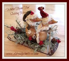 Primitive Winter Thyme Fun Sledding Mice by OldRoadPrimitives Woodland Christmas, Primitive Christmas, Country Christmas, Christmas Crafts, Christmas Patterns, Christmas Decorations, Christmas Ideas, Holiday Fun, Christmas Tree